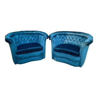 Mid-Century Modern Peacock Blue Club Chairs - a Pair For Sale