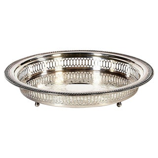Reticulated Silver-Plate Round Tray For Sale