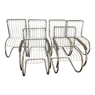 1970s Vintage Chrome Cantilever Chairs- Set of 6 For Sale