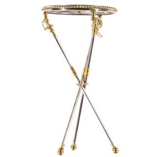Pasargad N Y Whimsical Polish Steel and Brass Tripod Table For Sale