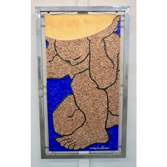 Metal 1970s Figurative Abstract Mosaic Glass Sculpture by Massimomiliano Beltrame, Framed For Sale - Image 7 of 7