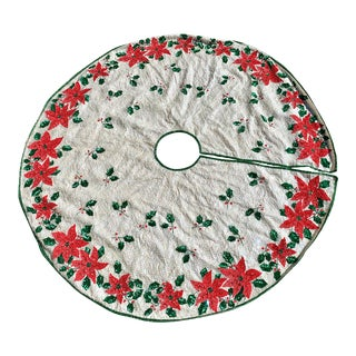 Vintage Sequin Poinsettia Tree Skirt For Sale