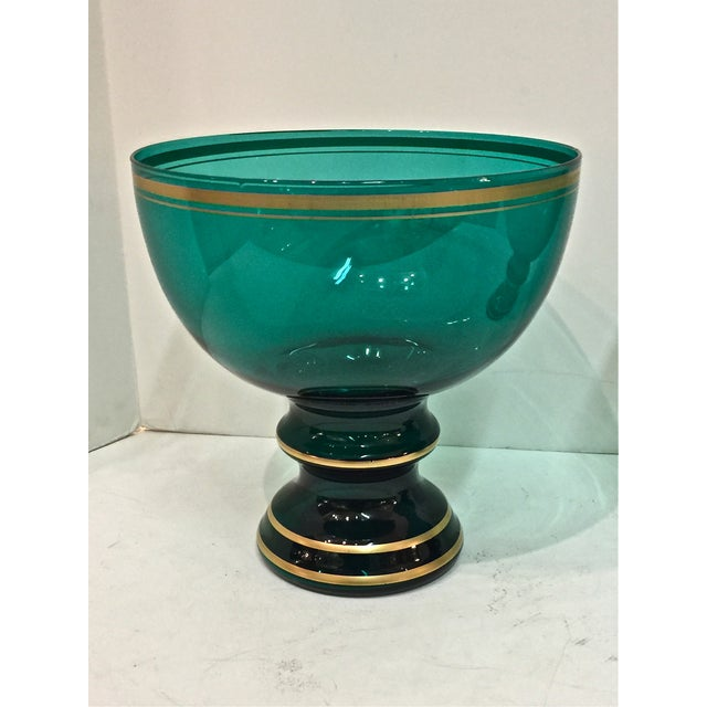 Mid Century Emerald Glass Footed Bowls - Pair - Image 3 of 6
