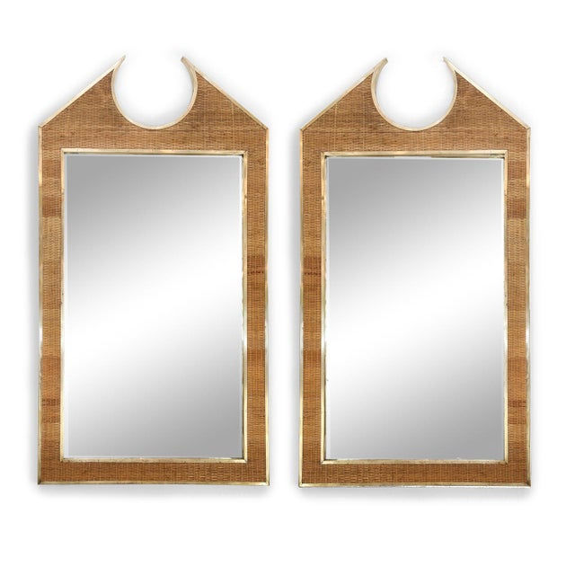 Two Large French Braided Rattan Frame Mirrors For Sale - Image 10 of 10