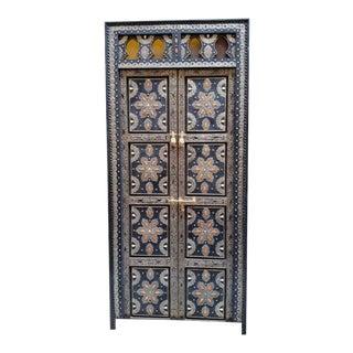 Moroccan Metal Inlaid Wooden Door For Sale