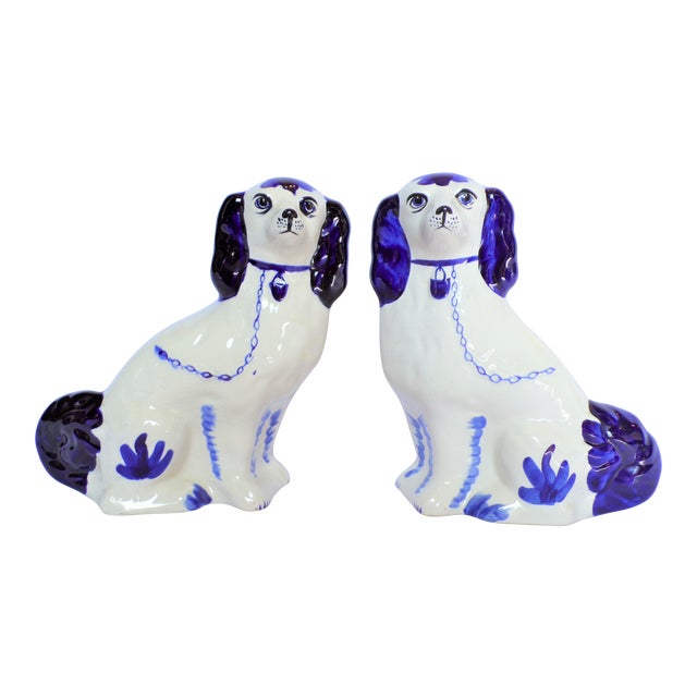 Vintage Blue and White Ceramic Staffordshire Dogs - a Pair For Sale