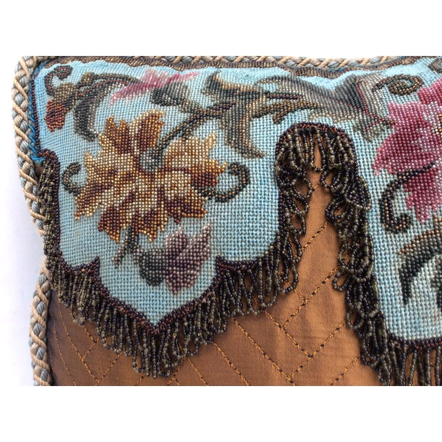 Turquoise Antique Beadwork Textile Pillow For Sale - Image 8 of 11