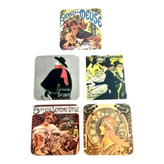 Art Nouveau Coasters and Cigarette Dish, 6pcs. For Sale