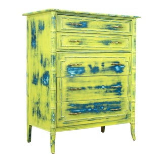 Mid-Century Faux Bamboo Chest of Drawers For Sale