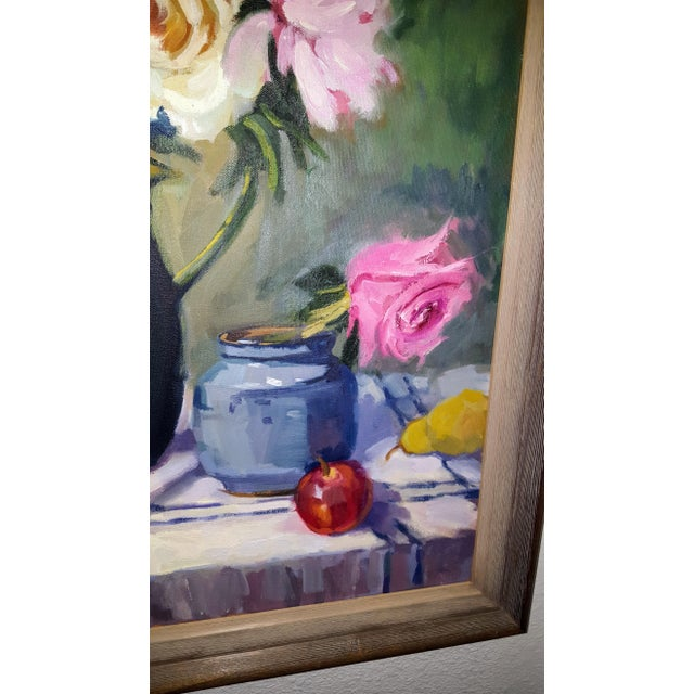 Contemporary Floral Oil Painting on Canvas For Sale - Image 3 of 5