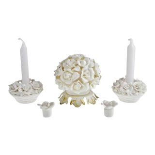 Vintage Aladdin Giftware Floral Nightlight Tv Lamp & Candlestick Holders - Group of 3 For Sale