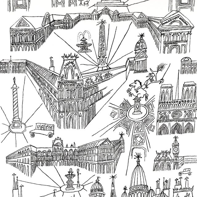 Contemporary Sample - Schumacher Views of Paris Wallpaper in Black & White For Sale - Image 3 of 3