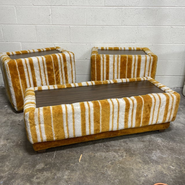 Groovy 70s Carpeted Tables Bench Set - a Set of 3 For Sale - Image 12 of 12