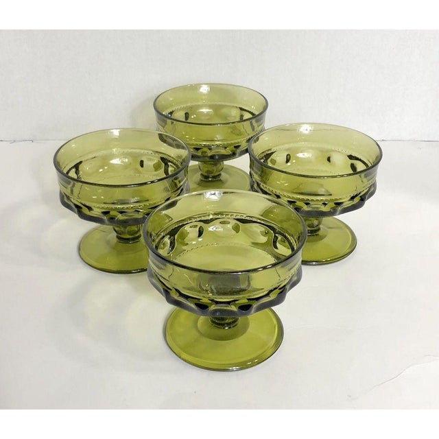 Set of 4 Vintage Verde Thumbprint King Crown glasses. Condition: These are in excellent condition.