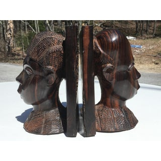 Antique Hand Carved African Zebrawood Bookends - a Pair Preview