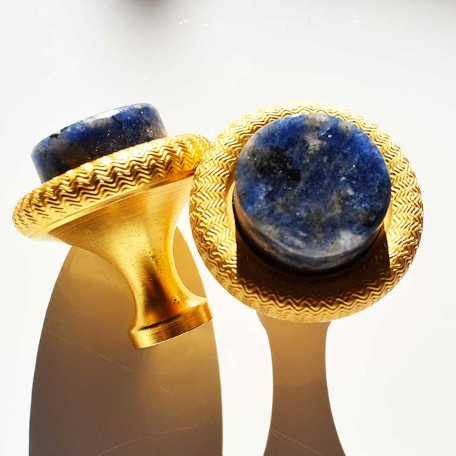 Set of 6 round Sherle Wagner Lapis Lazuli cabinet pulls. These handles/pulls feature knurled gold exterior in 24K gold...