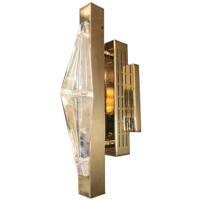 Mid-Century Modern Crystal Gold Sconces / Flush Mounts by Fabio Ltd For Sale - Image 3 of 10