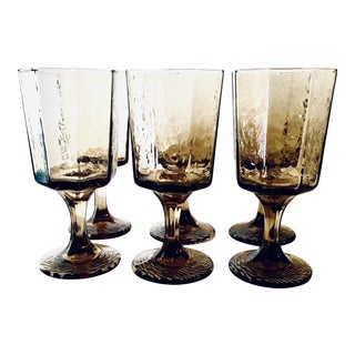 Mid-Century Modern Faux-Bois Smoked Glassware - Set of 6 For Sale