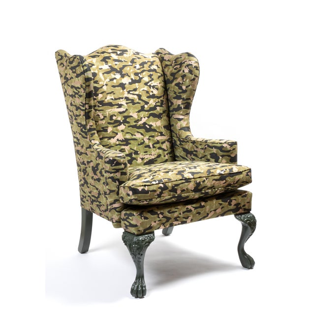 Traditional Wing Chair in Fortuny Fabric For Sale - Image 3 of 7
