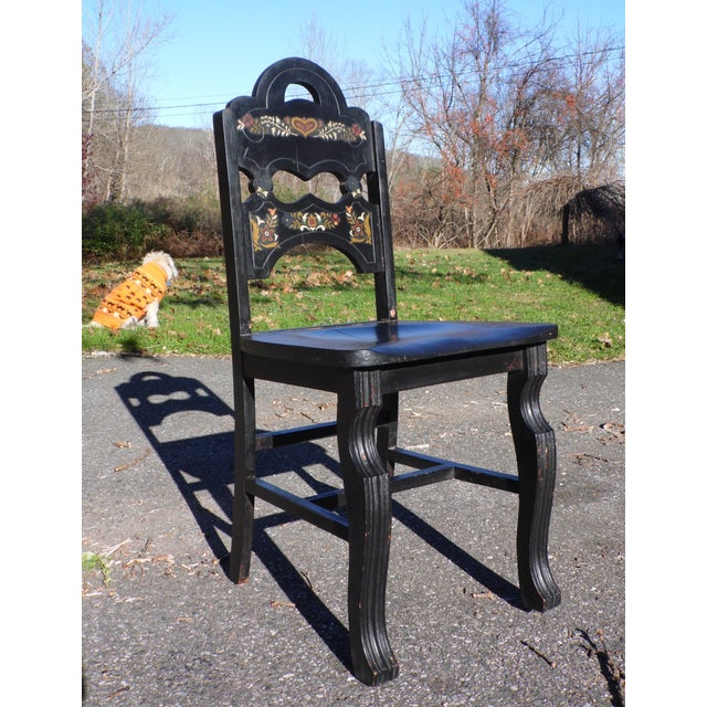 Vintage Set of 4 Art Deco Black Painted Amish Folk Art Style Dining Chairs For Sale - Image 11 of 12
