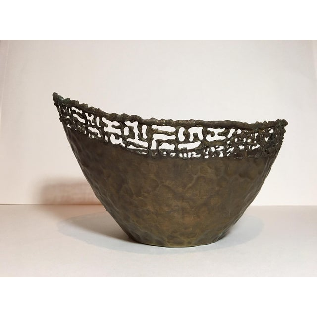 Marcello Fantoni Circa 1950 Marcello Fantoni Italian Brutalist Style Copper Bowl For Sale - Image 4 of 11