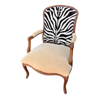 Antique Louis XV Style Walnut Bergere Arm Chair - Clarence House Zebra Velvet For Sale
