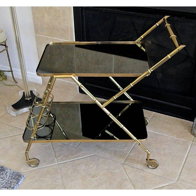Italian Brass Faux Bamboo Bar Tea Cart For Sale - Image 4 of 13