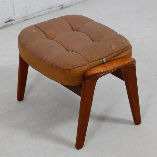 Leather Mid-Century Modern Lounge Chair & Ottoman - Image 7 of 9