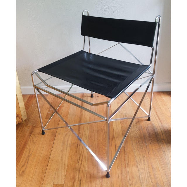 Bauhaus Mid Century Modernist Italian Chrome X Base Lounge Chair For Sale - Image 3 of 6