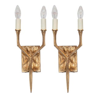 Modernist Brutalist 24-Karat Yellow Gold Gilded Two-Arm Branch Sconces - a Pair For Sale