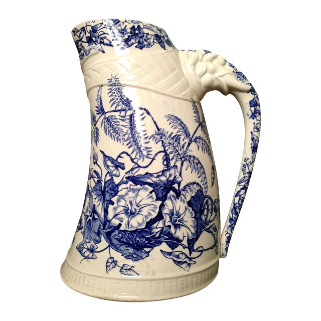 Antique Blue Transfer Ware Curved Pitcher For Sale