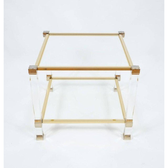 Pierre Vandel Lucite and brass signed side table, Paris, 1970. Classical side table by Pierre Vandel/Paris. Beautiful side...