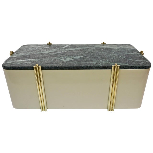 1970s Art Deco Green Marble and Cream White Lacquered Coffee Table or Bench For Sale