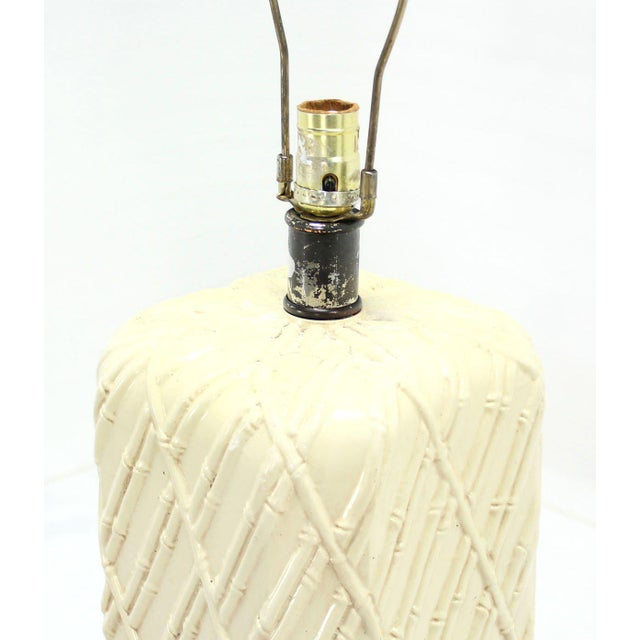 White Faux Bamboo Decorated Pattern Table Lamp For Sale - Image 8 of 9