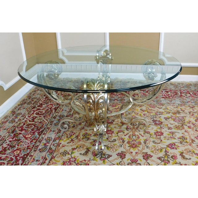 "Glass Coffee Table Brass Base: Silver Chrome Colored Metal Base Glass Top 42"" Diameter"