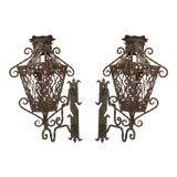 Image of 19th Century Italian Renaissance Style Wrought Iron Wall Lanterns - a Pair For Sale