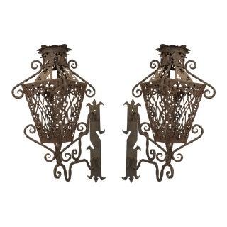 19th Century Italian Renaissance Style Wrought Iron Wall Lanterns - a Pair For Sale