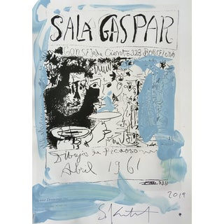 Abstract Framed Picasso Poster Painting by Sean Kratzert 'Blue Gaspar' For Sale
