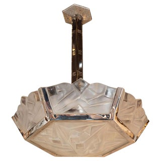 Art Deco Cubist Frosted Glass and Nickeled Bronze Chandelier Signed Degué For Sale