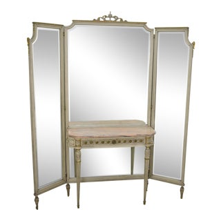 French Louis XVI Style Tri Fold Mirror With Attached Console