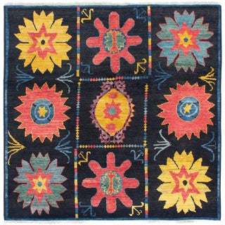 Contemporary Handmade Indian Rug - 6′2″ × 6′3″ For Sale