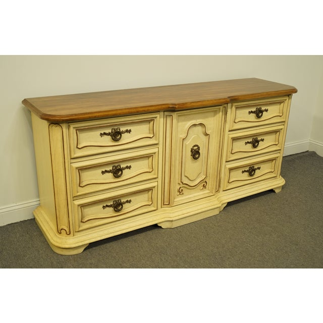 French 20th Century French Provincial Stanley Furniture Cream Painted Triple Door Dresser For Sale - Image 3 of 12