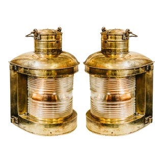 Vintage Brass Nautical Ship Lanterns - A Pair For Sale