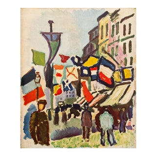 """1940s Raoul Dufy """"The 14th of July at Le Havre"""" First Edition Period Swiss Lithograph For Sale"""