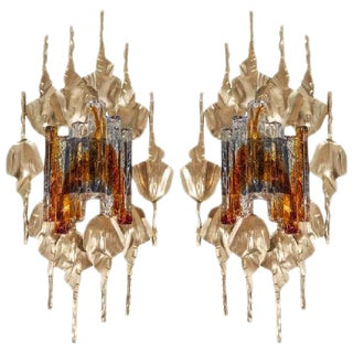 GORGEOUS BRUTALIST PAIR OF MURANO GLASS GILT METAL WALL SCONCES For Sale