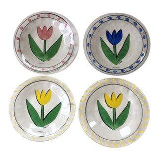 Contemporary Scandinavian Kosta Boda Tulipa Appetizer Plates - Set of 4 For Sale