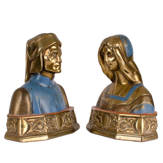 Dante and Beatrice Bronze Bookends For Sale - Image 4 of 6