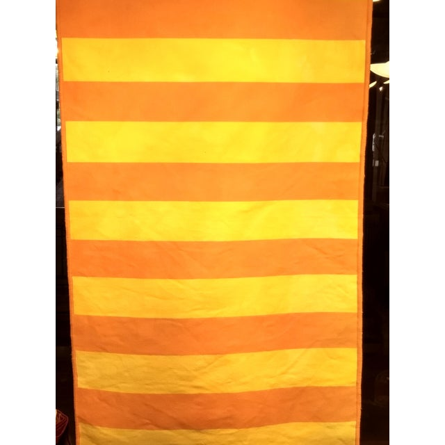 Modern style vintage Turkish Kilim flat-weave rug in orange and yellow colored stripes. Dimensions: 2' 8″ x 5' 1″ Date of...