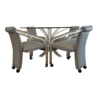 Charles Hollis Jones Lucite Dining Table & Chair Set For Sale