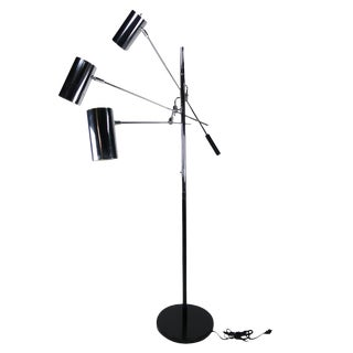 Black & Chrome Sonneman Triennale Floor Lamp For Sale